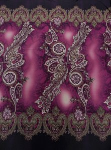 Polyester ITY Matte Jersey Spandex 2 Side Border Big Paisley Design