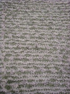 Heavy Polyester 1 way Spandex Fuzzy Knit with Minky Curly Llama Texture and Taffeta Floral Design