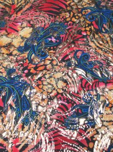 Polyester Spandex Single Span Paisley Design with Gold Foil