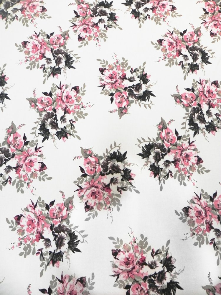 Polyester ITY Matte Jersey 2 ways Stretch Floral Fabric Design
