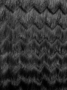 Polyester Open Knit Fabric with 3 inches Zig Zag Fringe Design
