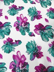 Polyester ITY Matte Jersey 2 ways Stretch Big Floral Fabric Design