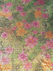 Polyester 2 Way Spandex with 5 mm Floral Sequins Design