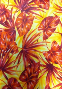 Polyester Mesh with Palm and Anthurium Leafs Design