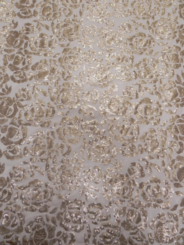 Polyester None Stretch Mesh with 3mm Shiny Sequins Floral Design