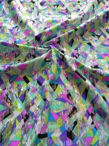 Nylon Spandex Geometric Design with Silver Foil