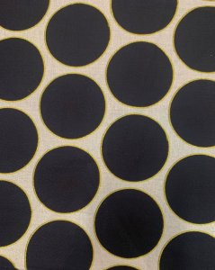 Cotton Fabric None Stretch W/Gold Lurex & 2'' Polka Dots Design
