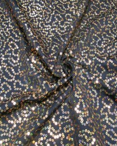 Polyester Single Spun 2 way Spandex with Swirl 3 mm Hologram Sequins