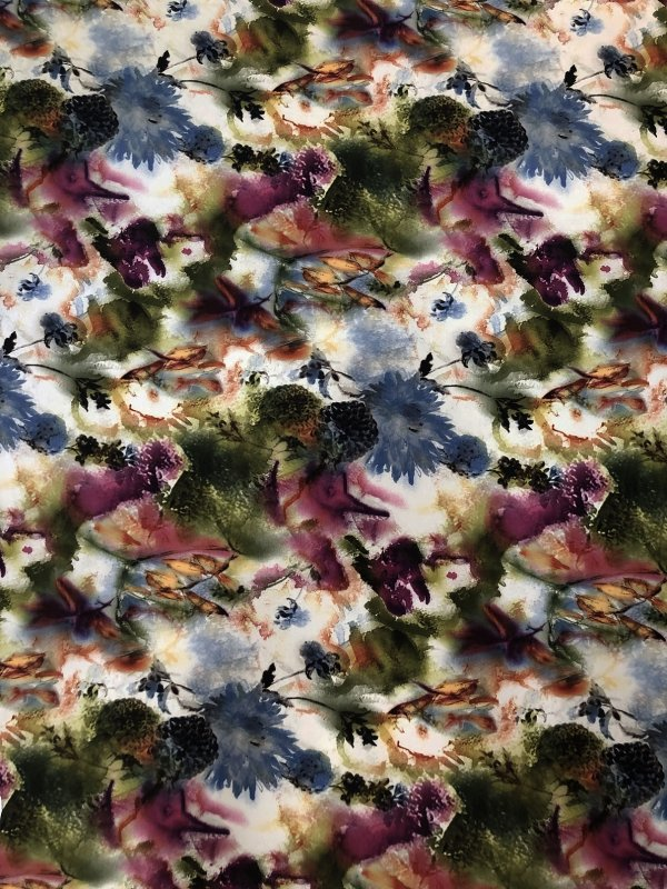 Polyester ITY Matte Jersey 2 ways Stretch Floral Design