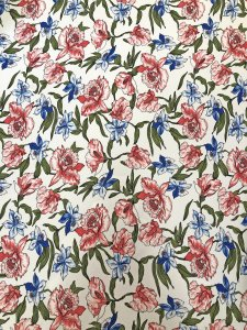 Polyester Spandex 2 ways Stretch Textured Liverpool Medium Weight Fabric Floral Design