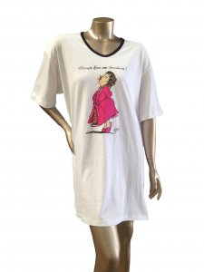 Animated Sleepshirt or Beach Cover-Up w/Side Slits & Matte Studs 100% Cotton