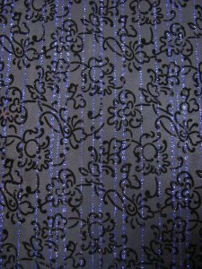 Polyester Mesh Floral Design with Navy Lurex