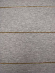 Polyester Rayon Spandex with Gold Lurex Stripes
