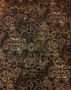 Polyester Spandex Jaquard Fukuro Floral Design with Gold Foil