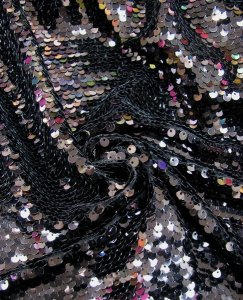 Nylon Mesh with 7 mm Overlapped Fish Scales Shiny Sequins