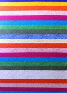 Polyester Mesh Multi Color Stripe with Letters Print