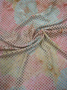 Polyester Single Spun W/Rainbow Foil Polka Dots Design