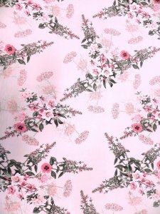 Polyester Single Spun 2 ways Stretch Floral Fabric Design