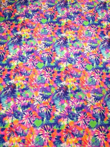 Nylon Spandex Medium Weight Multi Color Tie Dye Floral Design