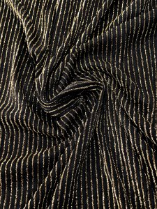 Polyester DTY Spandex 2 ways Stretch Light Weight with Gold Textured Lurex Stripes Design