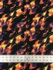 Nylon Spandex 4ways Stretch W/Silver Glitters & Fluorescent Flames Design