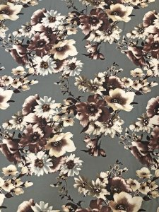Polyester Spandex Medium Weight 2 ways Stretch Techno Floral Fabric Design