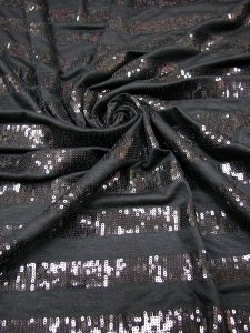 Polyester Rayon Spandex 2 ways Stretch Medium Weight with 3mm Horizontal Black Sequins