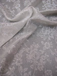 Polyester Mesh Floral Design with Silver Lurex