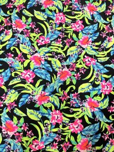 Nylon Spandex medium Weight 4 ways Stretch Neon Big Floral Design